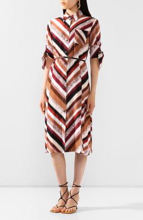 Женское шелковое платье ALTUZARRA коричневого цвета, арт. 120-3033-BSP001   Фото 3 (Материал внешний: Шелк; Случай: Повседневный; Длина Ж (юбки, платья, шорты): Миди; Материал подклада: Синтетический материал; Рукава: 3/4; Женское Кросс-КТ: Платье-одежда)