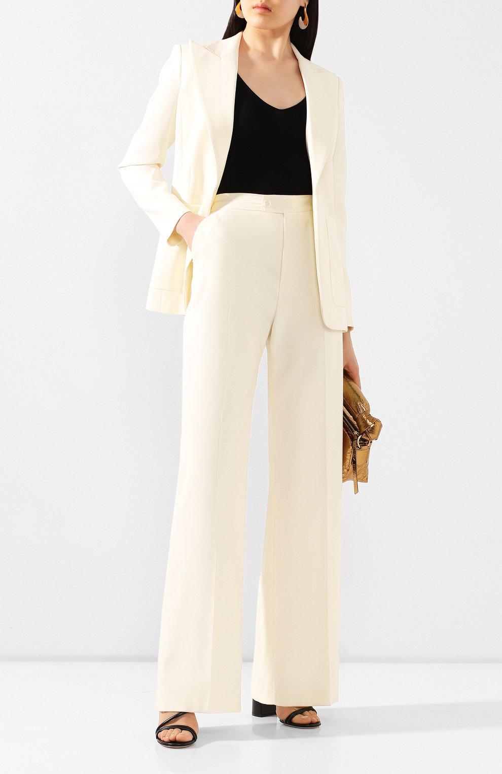 Женские шерстяные брюки ALTUZARRA светло-бежевого цвета, арт. 220-6013-AWS679   Фото 2 (Длина (брюки, джинсы): Удлиненные; Материал внешний: Шерсть; Женское Кросс-КТ: Брюки-одежда; Силуэт Ж (брюки и джинсы): Прямые)