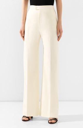 Женские шерстяные брюки ALTUZARRA светло-бежевого цвета, арт. 220-6013-AWS679   Фото 3 (Длина (брюки, джинсы): Удлиненные; Материал внешний: Шерсть; Женское Кросс-КТ: Брюки-одежда; Силуэт Ж (брюки и джинсы): Прямые)