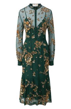 Женское шелковое платье SAINT LAURENT зеленого цвета, арт. 624434/Y065W | Фото 1