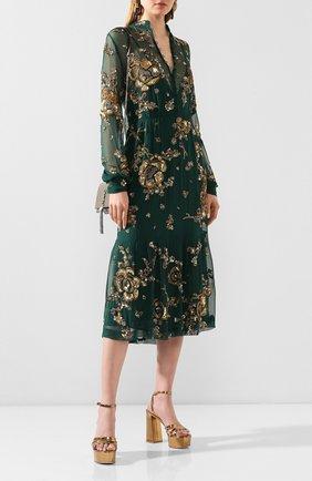 Женское шелковое платье SAINT LAURENT зеленого цвета, арт. 624434/Y065W | Фото 2