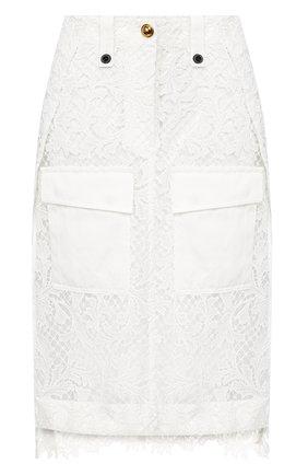 Женская юбка SACAI белого цвета, арт. 20-04940 | Фото 1