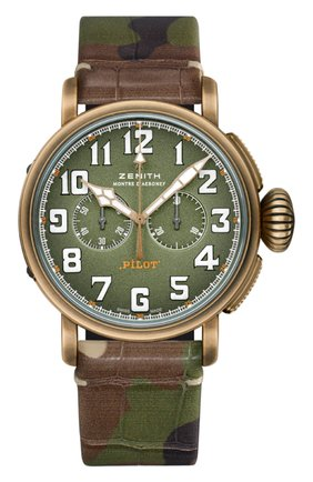 Мужские часы pilot type 20 chronograph adventure ZENITH зеленого цвета, арт. 29.2430.4069/63.C | Фото 1
