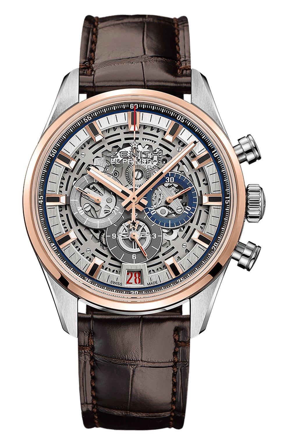 Мужские часы chronomaster el primero full open ZENITH серебряного цвета, арт. 51.2081.400/78.C | Фото 1
