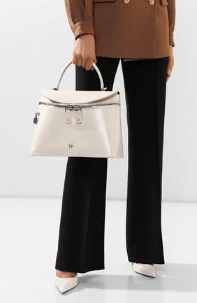 Женская сумка TOM FORD белого цвета, арт. L1291P-LCL056   Фото 2 (Материал: Натуральная кожа; Сумки-технические: Сумки top-handle, Сумки через плечо; Размер: medium)
