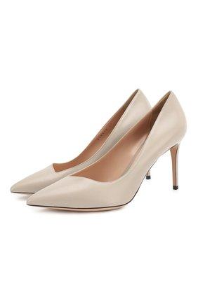 Женская кожаные туфли GIORGIO ARMANI светло-серого цвета, арт. X1E719/XC087 | Фото 1