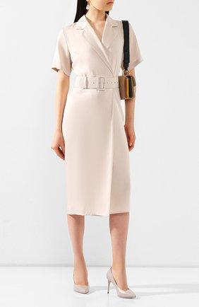 Женская кожаные туфли GIORGIO ARMANI светло-серого цвета, арт. X1E719/XC087 | Фото 2