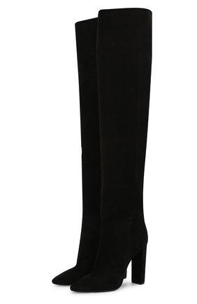 Женские замшевые ботфорты SAINT LAURENT черного цвета, арт. 621120/0LI00 | Фото 1