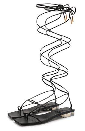 Женские кожаные сандалии antheia VERSACE черного цвета, арт. DST342D/DNA5 | Фото 1