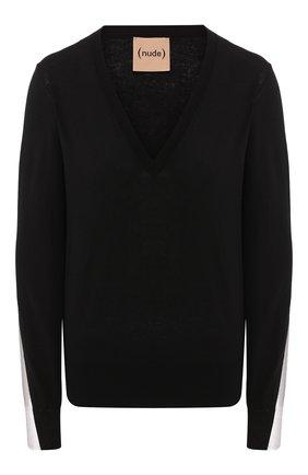 Женская хлопковый пуловер NUDE черного цвета, арт. 1101741/V NECK SWEATER | Фото 1