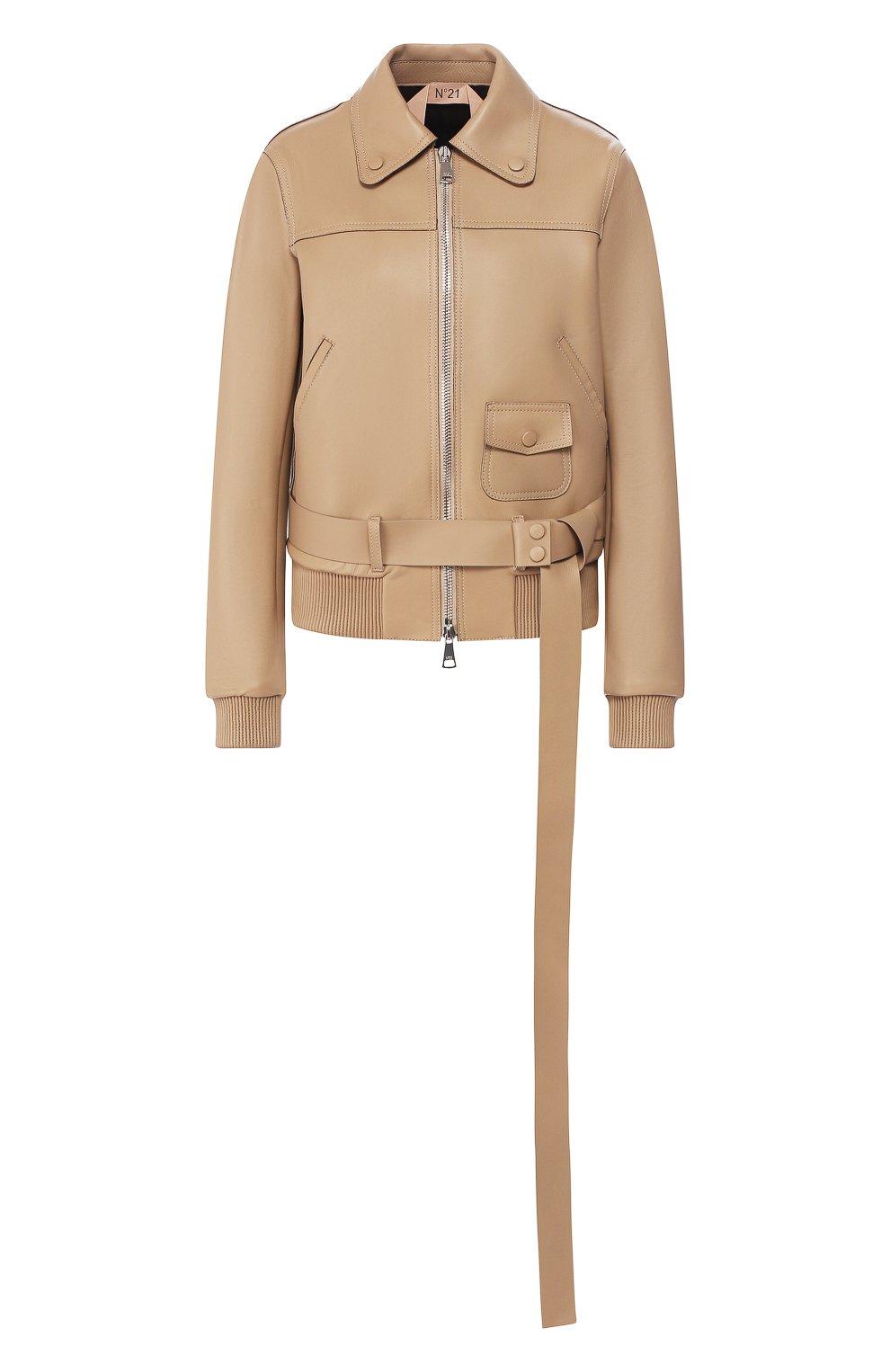 Женская кожаная куртка NO. 21 бежевого цвета, арт. 20E N2S0/Z011/6812   Фото 1