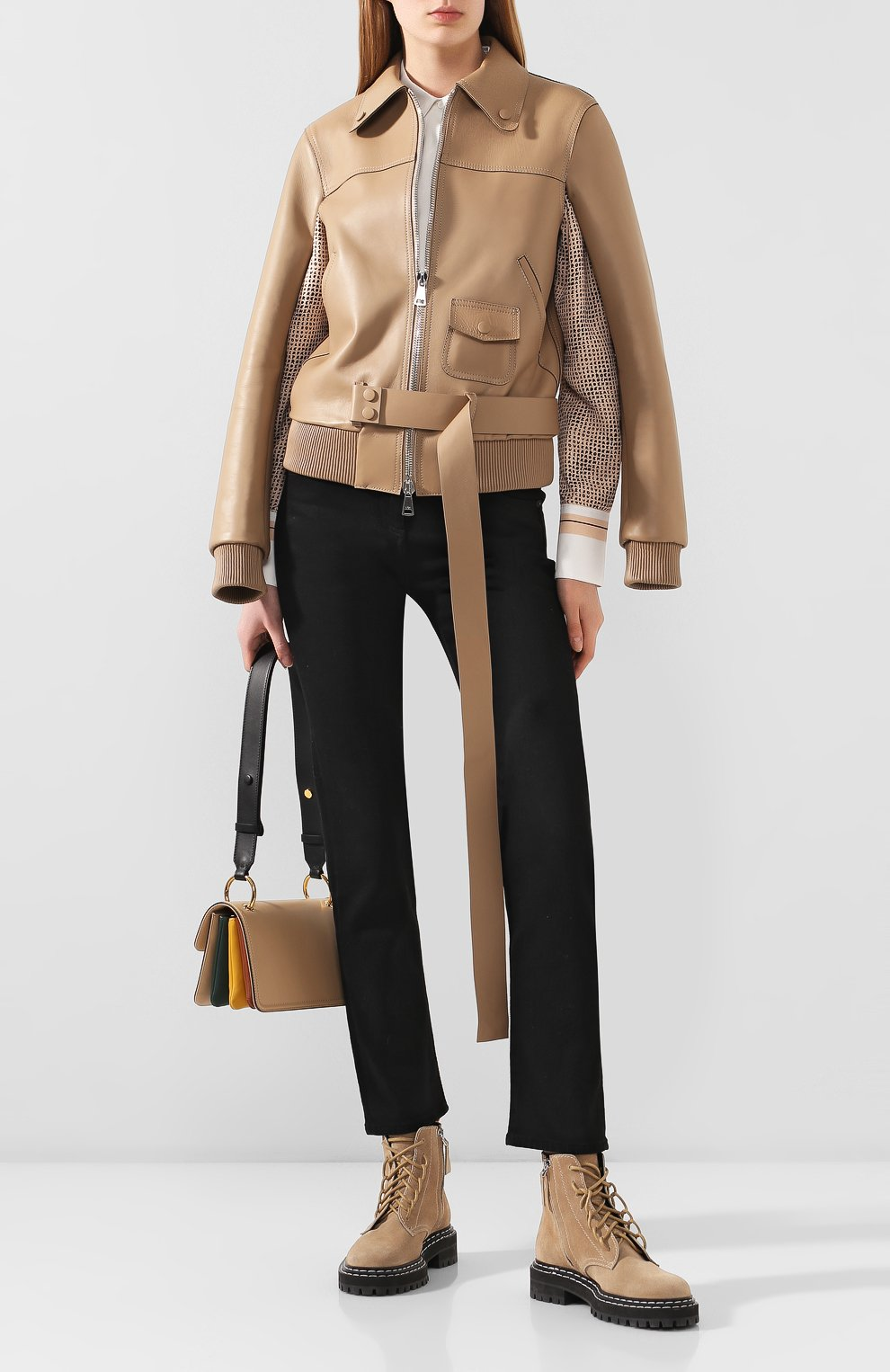 Женская кожаная куртка NO. 21 бежевого цвета, арт. 20E N2S0/Z011/6812   Фото 2
