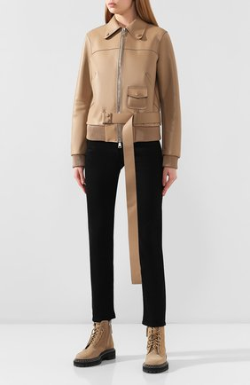 Женская кожаная куртка NO. 21 бежевого цвета, арт. 20E N2S0/Z011/6812   Фото 3