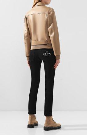 Женская кожаная куртка NO. 21 бежевого цвета, арт. 20E N2S0/Z011/6812   Фото 4