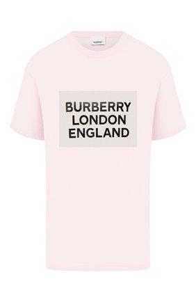 Женская хлопковая футболка BURBERRY розового цвета, арт. 8026882 | Фото 1