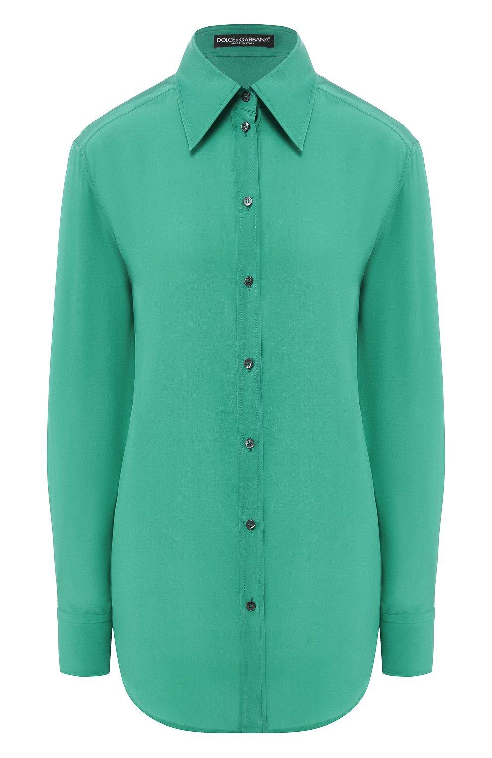 Женская шелковая рубашка DOLCE & GABBANA зеленого цвета, арт. F5M51T/FU1UQ | Фото 1