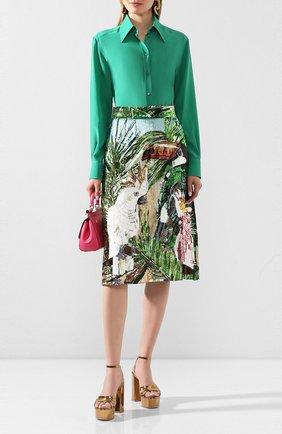 Женская шелковая рубашка DOLCE & GABBANA зеленого цвета, арт. F5M51T/FU1UQ | Фото 2