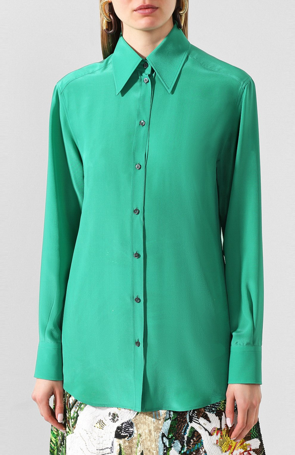 Женская шелковая рубашка DOLCE & GABBANA зеленого цвета, арт. F5M51T/FU1UQ | Фото 3