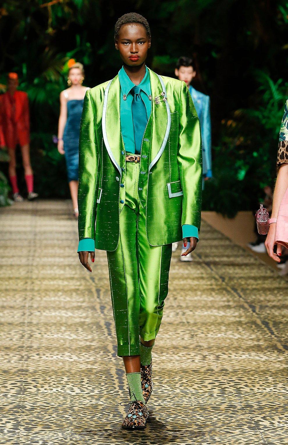 Женская шелковая рубашка DOLCE & GABBANA зеленого цвета, арт. F5M51T/FU1UQ | Фото 6