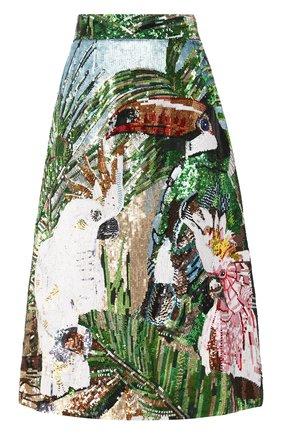Женская шелковая юбка с пайетками DOLCE & GABBANA разноцветного цвета, арт. F4BV7Z/GD0D8 | Фото 1