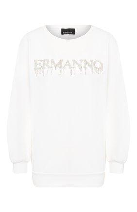 Женская хлопковый свитшот ERMANNO ERMANNO SCERVINO белого цвета, арт. 46T FL09 FEL   Фото 1