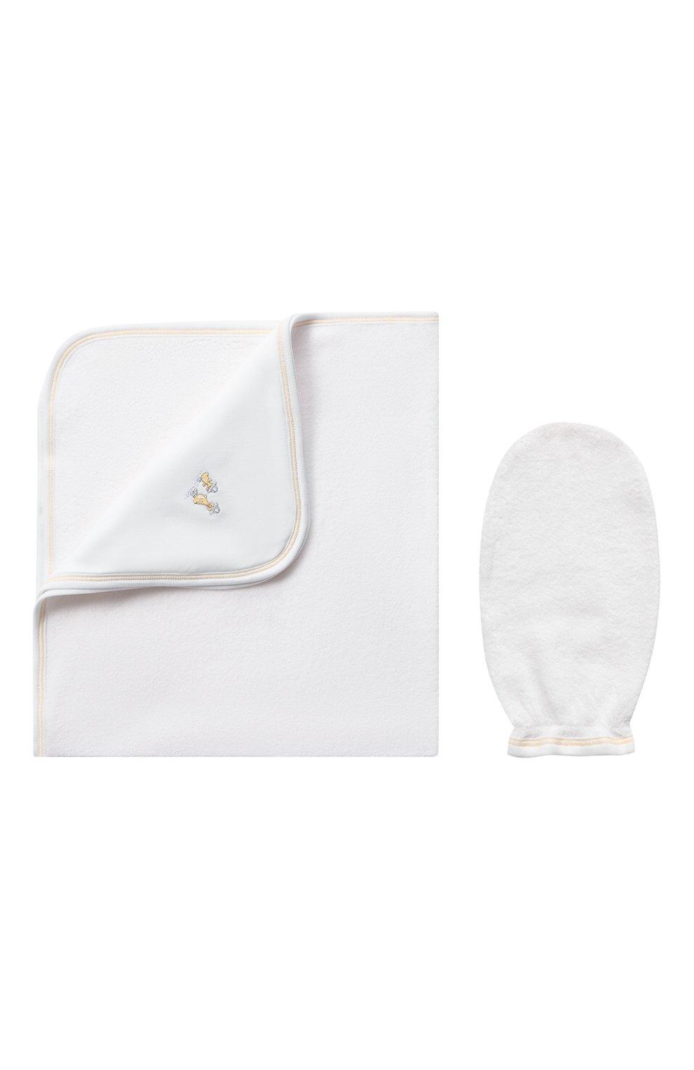 Детского комплект из полотенца и рукавицы KISSY KISSY белого цвета, арт. KN403463O | Фото 1 (Материал: Текстиль, Хлопок)