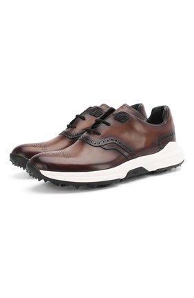 Мужские кожаные кроссовки BERLUTI темно-коричневого цвета, арт. S5062-002 | Фото 1