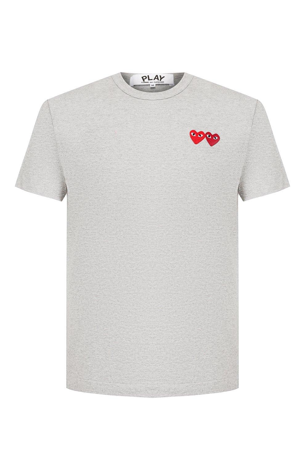 Мужская хлопковая футболка COMME DES GARCONS PLAY серого цвета, арт. AZ-T226 | Фото 1