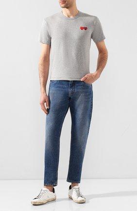 Мужская хлопковая футболка COMME DES GARCONS PLAY серого цвета, арт. AZ-T226 | Фото 2