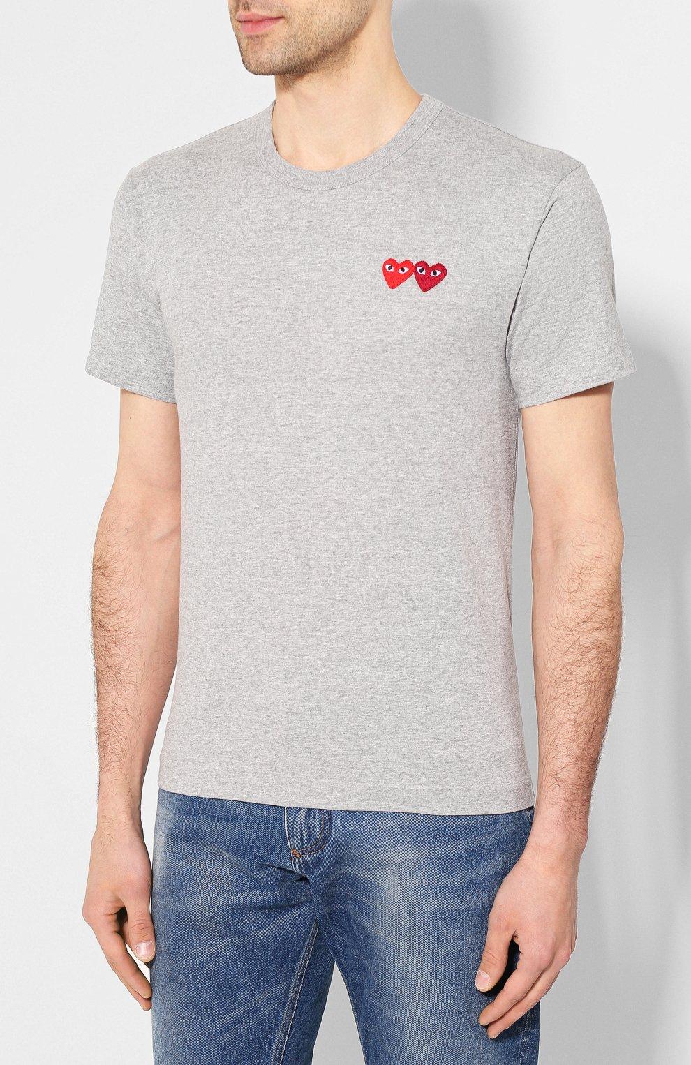 Мужская хлопковая футболка COMME DES GARCONS PLAY серого цвета, арт. AZ-T226 | Фото 3
