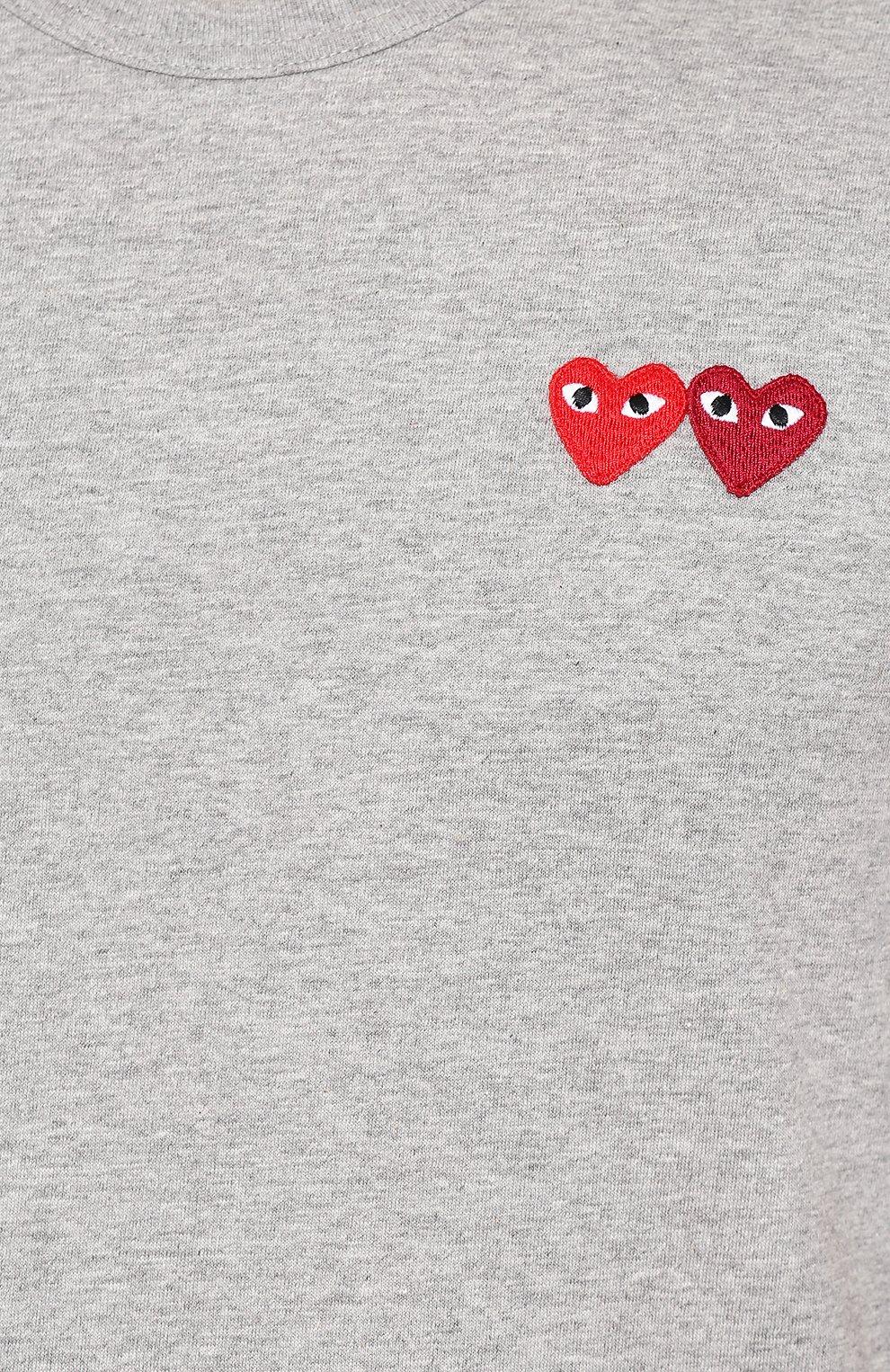 Мужская хлопковая футболка COMME DES GARCONS PLAY серого цвета, арт. AZ-T226 | Фото 5