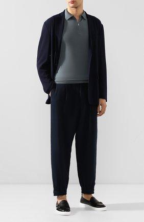 Мужской льняные брюки GIORGIO ARMANI темно-синего цвета, арт. 0SGPP0AW/T00PI | Фото 2