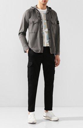 Мужская хлопковая рубашка STONE ISLAND темно-серого цвета, арт. 721512408 | Фото 2