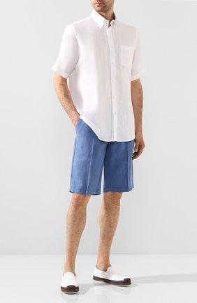 Мужская льняная рубашка PAUL&SHARK белого цвета, арт. E20P3069 | Фото 2