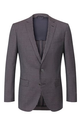 Мужской шерстяной пиджак BOSS фиолетового цвета, арт. 50432947 | Фото 1