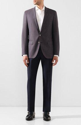 Мужской шерстяной пиджак BOSS фиолетового цвета, арт. 50432947 | Фото 2