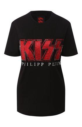 Женская хлопковая футболка PHILIPP PLEIN черного цвета, арт. P20C WTK2025 PTE003N | Фото 1