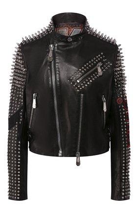 Женская кожаная куртка PHILIPP PLEIN черного цвета, арт. P20C WLB0718 PLE010N | Фото 1