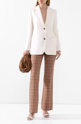 Женские хлопковые брюки VICTORIA BECKHAM коричневого цвета, арт. 1220WTR001175G | Фото 2