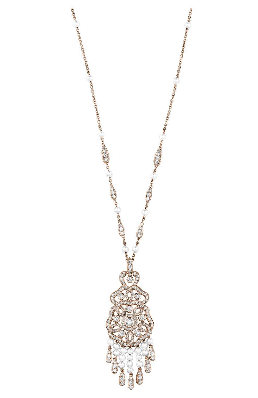 Женские колье GARRARD бесцветного цвета, арт. 2015492   Фото 1 (Драгоценные камни: Бриллианты; Материал сплава: Розовое золото)