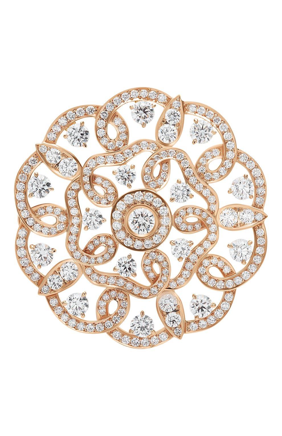 Женские брошь GARRARD бесцветного цвета, арт. 2015677 | Фото 1 (Драгоценные камни: Бриллианты; Материал сплава: Розовое золото)
