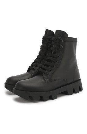 Женские кожаные ботинки PRADA черного цвета, арт. 1T012M-3L1P-F0002-45   Фото 1