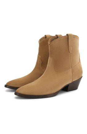 Женские замшевые ботинки west SAINT LAURENT светло-коричневого цвета, арт. 620087/1NZ00   Фото 1
