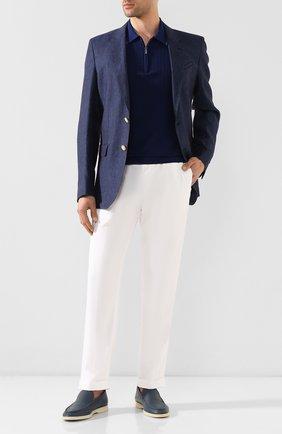Мужской льняные брюки KITON белого цвета, арт. UFPLACJ07S40 | Фото 2