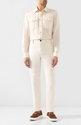 Мужские брюки-карго изо льна и хлопка BRUNELLO CUCINELLI белого цвета, арт. M278DS2160 | Фото 2