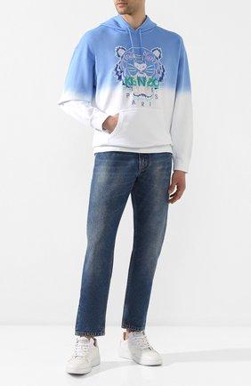 Мужской хлопковое худи KENZO голубого цвета, арт. FA55SW5614XG   Фото 2
