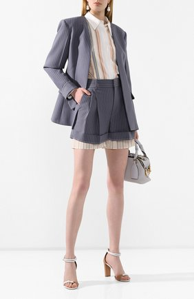 Женские шерстяные шорты CHLOÉ голубого цвета, арт. CHC20USH11063 | Фото 2