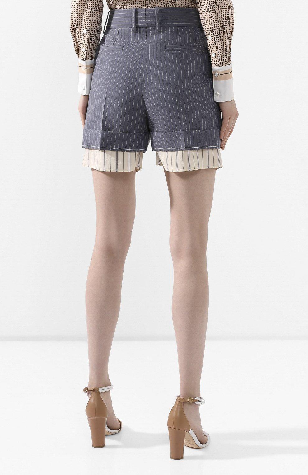 Женские шерстяные шорты CHLOÉ голубого цвета, арт. CHC20USH11063 | Фото 4 (Женское Кросс-КТ: Шорты-одежда; Материал внешний: Шерсть; Длина Ж (юбки, платья, шорты): Мини; Стили: Классический; Материал подклада: Шелк)