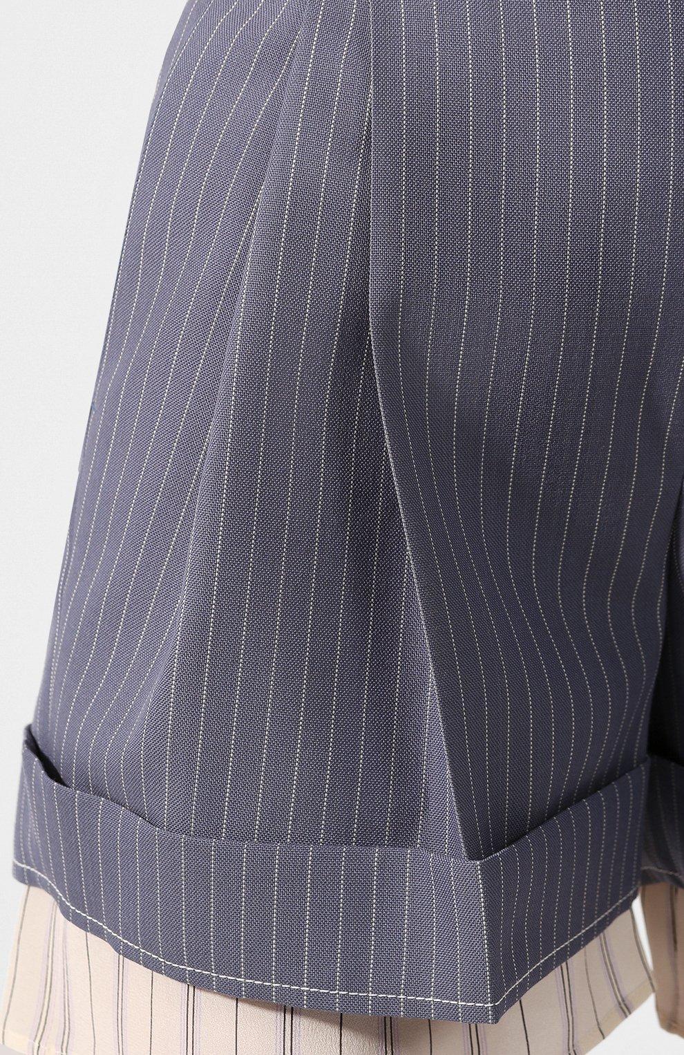 Женские шерстяные шорты CHLOÉ голубого цвета, арт. CHC20USH11063 | Фото 5 (Женское Кросс-КТ: Шорты-одежда; Материал внешний: Шерсть; Длина Ж (юбки, платья, шорты): Мини; Стили: Классический; Материал подклада: Шелк)