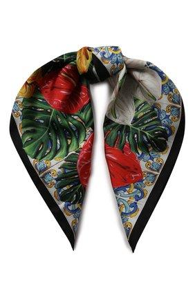 Женский шелковый платок DOLCE & GABBANA красного цвета, арт. FN093R/GDU71 | Фото 1